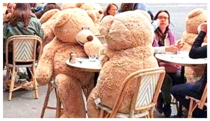 Un café parisien utilise des ours en peluche géants pour assurer la distanciation sociale